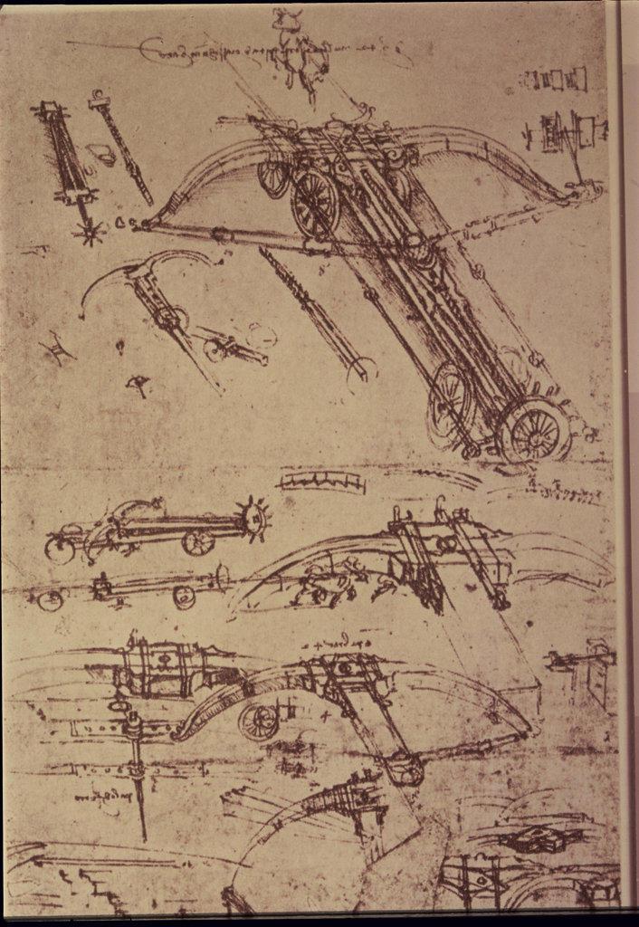 Stock Photo: 2778-411759 Crossbows & Catapults Leonardo da Vinci (1452-1519 Italian) Drawing