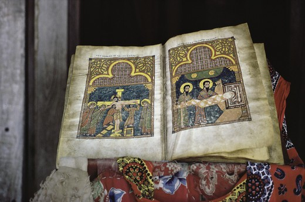 Stock Photo: 2872-568490 Ethiopian Bible: Crucifixion Manuscripts