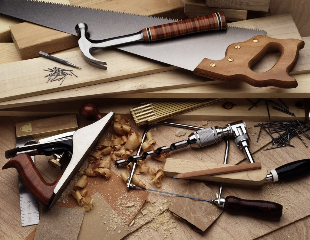 High angle view of carpentry tools : Stock Photo