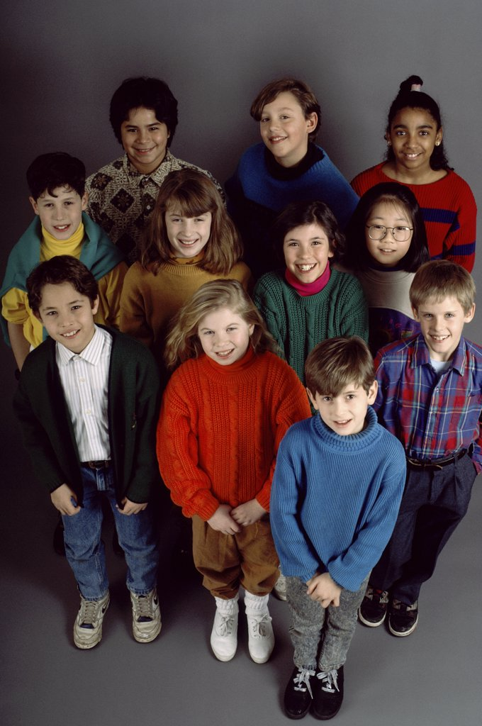 Stock Photo: 291-156A High angle view of boys and girls standing and smiling