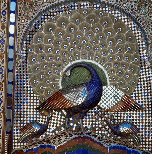 Peacock, Indian Art, Mosaic : Stock Photo