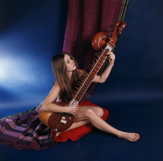 Stock Photo: 3075-437217 Young woman playing a veena