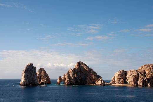 Rock formations in the ocean, Lover's Beach, Land's End, Cabo San Lucas, Baja California, Mexico : Stock Photo