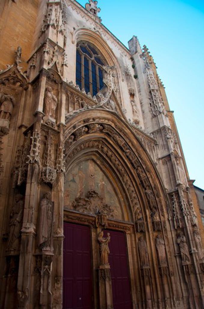 Stock Photo: 3138-536767 Low angle view of a cathedral, Saint Sauveur Cathedral, Aix-en-Provence, Bouches-du-Rhone, Provence-Alpes-Cote d'Azur, France