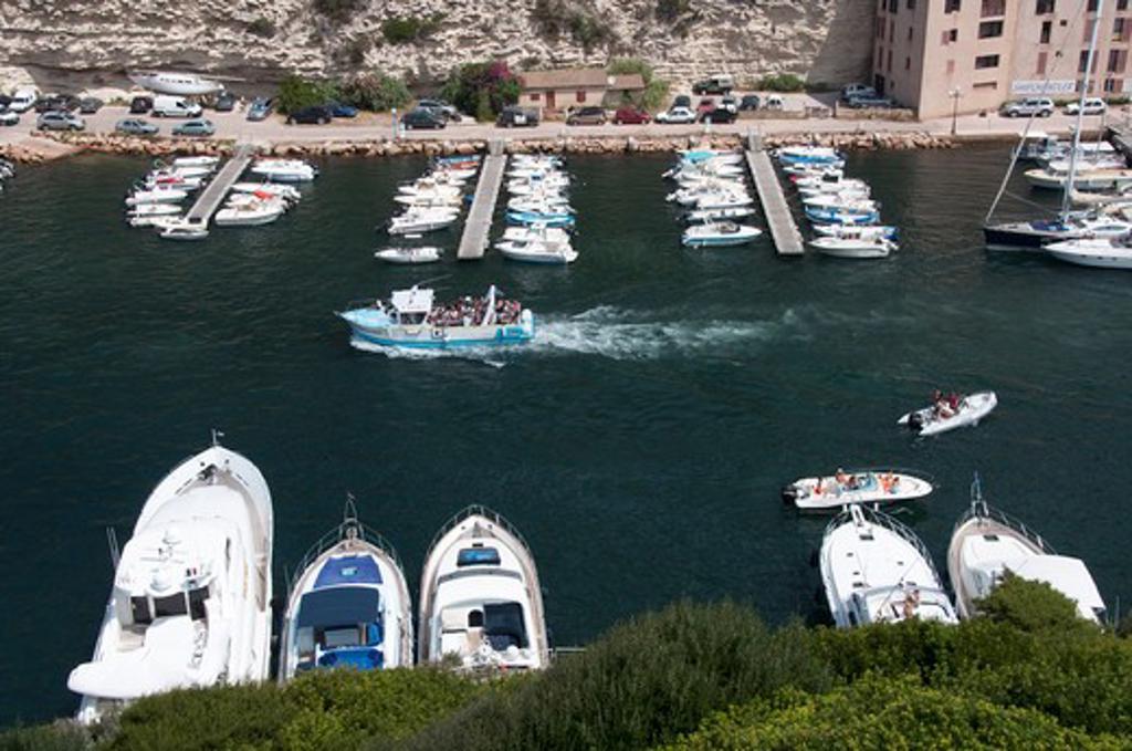 Stock Photo: 3138-536768 High angle view of boats on a harbor, La Marine, Bonifacio, Corse-du-Sud, Corsica, France