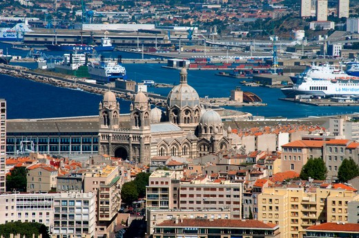 Stock Photo: 3138-536813 Church with harbor in the background, Marseille Cathedral, Marseille, Bouches-du-Rhone, Provence-Alpes-Cote d'Azur, France