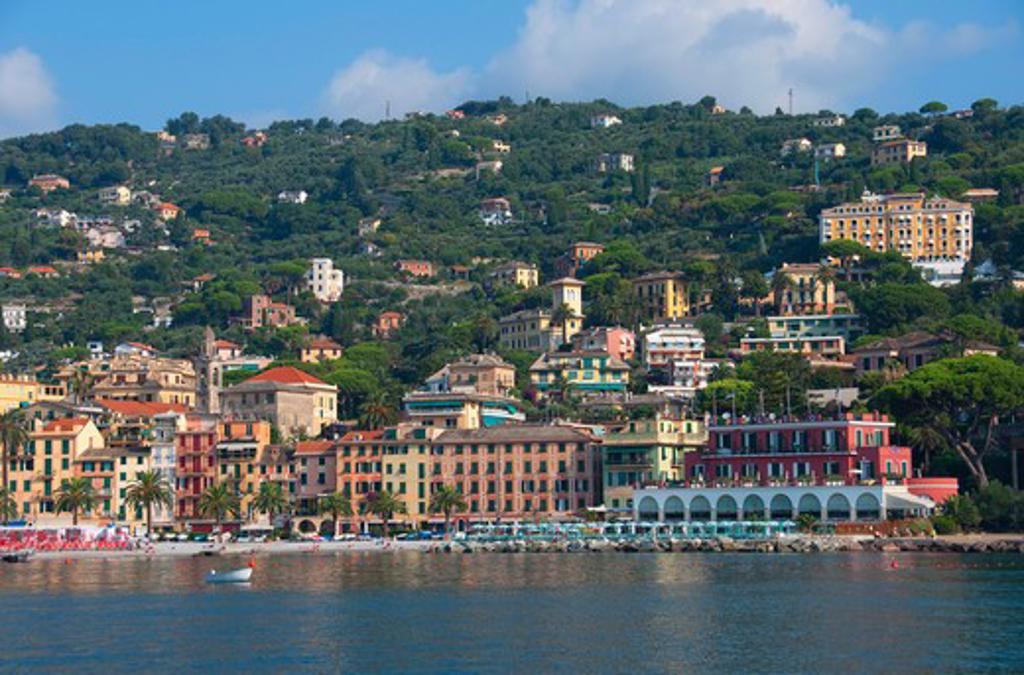 Buildings at the waterfront, Santa Margherita Ligure, Genoa Province, Liguria, Italy : Stock Photo
