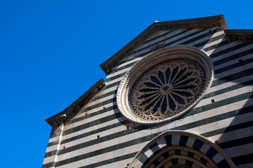 Architectural details of a church, Vernazza, La Spezia Province, Liguria, Italy : Stock Photo