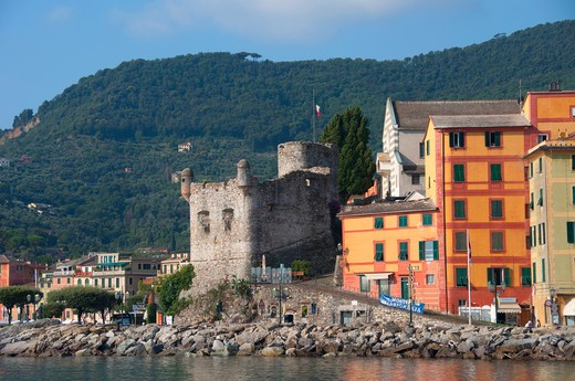 Stock Photo: 3138-536899 Buildings at the waterfront, Santa Margherita Fort, Santa Margherita Ligure, Genoa Province, Liguria, Italy