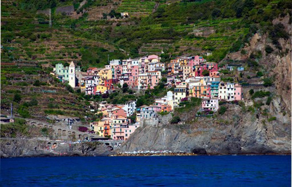 Stock Photo: 3138-536908 Town at the coast, Riomaggiore, La Spezia Province, Liguria, Italy