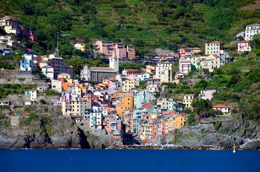 Buildings and a church in a town, Riomaggiore, La Spezia Province, Liguria, Italy : Stock Photo