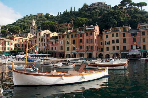 Boats at a harbor, Portofino, Genoa Province, Liguria, Italy : Stock Photo
