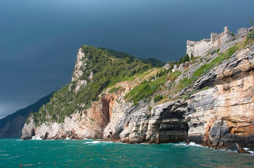 Storm clouds over the sea and cliff, Doria Castle, Portovenere, La Spezia Province, Liguria, Italy : Stock Photo