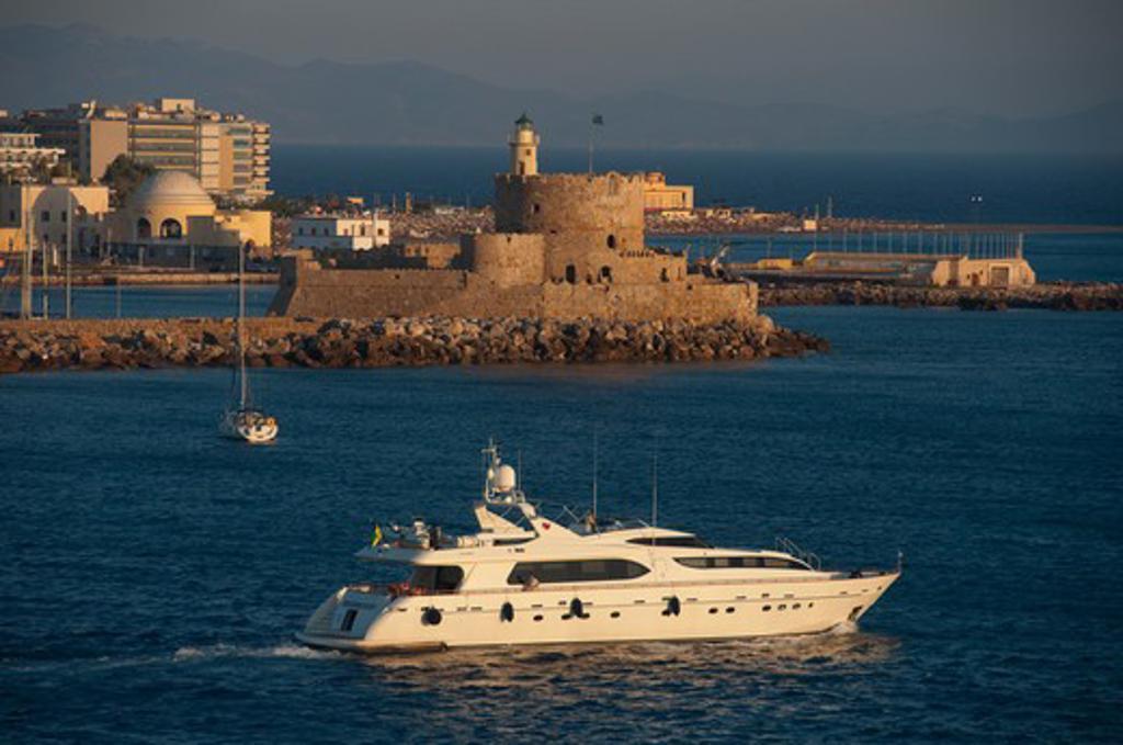 Cruise ship in the sea, Rhodes, Dodecanese Islands, Greece : Stock Photo