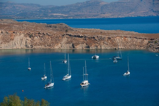 Stock Photo: 3138-536966 High angle view of boats in the sea, Lindos, Rhodes, Greece