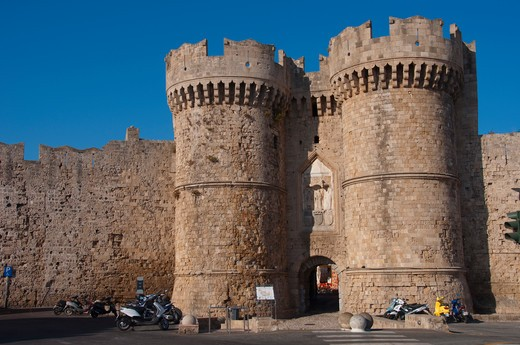 Facade of a palace, Palace Of The Grand Master Of The Knights Of Rhodes, Rhodes, Dodecanese Islands, Greece : Stock Photo