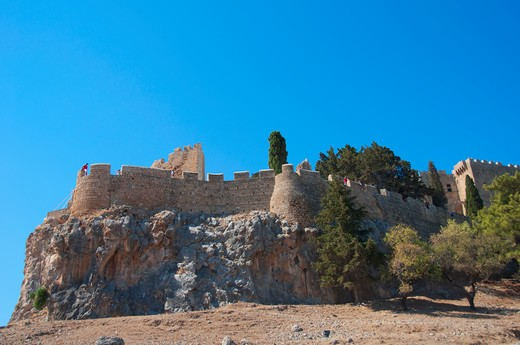 Castle on a cliff, Lindos, Rhodes, Dodecanese Islands, Greece : Stock Photo