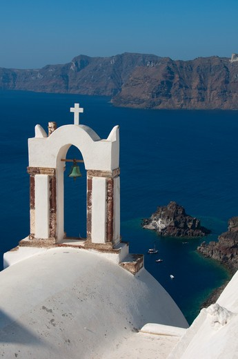 Stock Photo: 3138-536982 Bell tower of a church at the waterfront, Santorini, Cyclades Islands, Greece