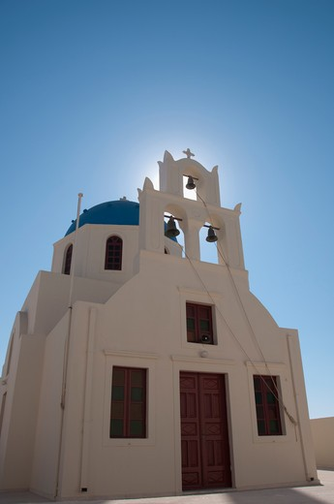 Facade of a church, Ypapanti Church, Santorini, Cyclades Islands, Greece : Stock Photo