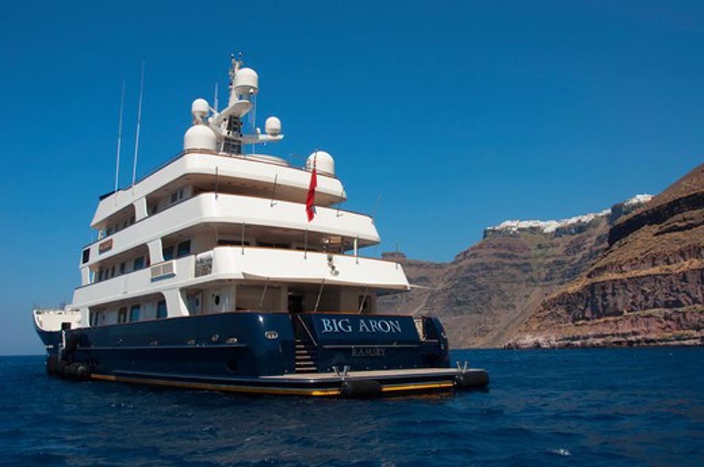 Big Aron yacht at the coast, Santorini, Cyclades Islands, Greece : Stock Photo