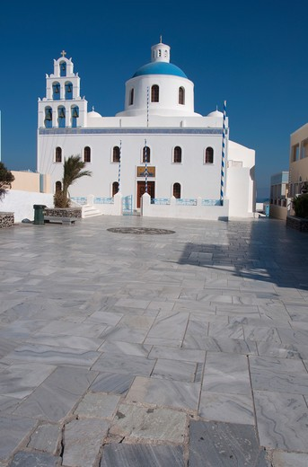 Facade of a church, Church Of Panagia Of Platsani, Caldera Square, Oia, Santorini, Cyclades Islands, Greece : Stock Photo