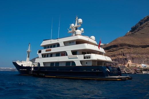 Big Aron yacht at the coast, Santorini, Cyclades Islands, Greece : Stock Photo