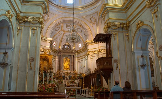 Interiors of a church, Church Of Santa Maria Assunta, Positano, Amalfi Coast, Campania, Italy : Stock Photo