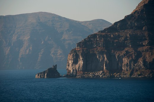 Mountains at the coast, Santorini, Cyclades Islands, Greece : Stock Photo