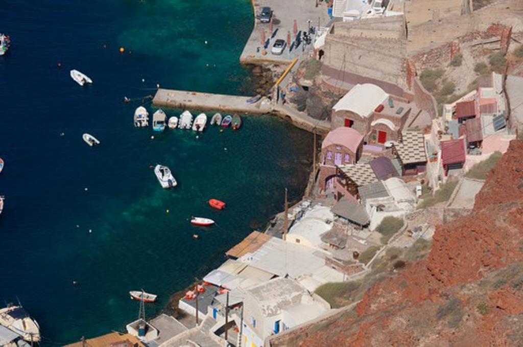Stock Photo: 3138-537024 High angle view of a town, Ammoudi Port, Santorini, Cyclades Islands, Greece