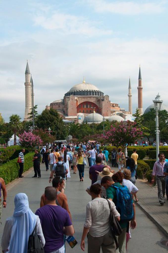 Stock Photo: 3138-537032 Tourists at a mosque, Aya Sofya, Istanbul, Turkey