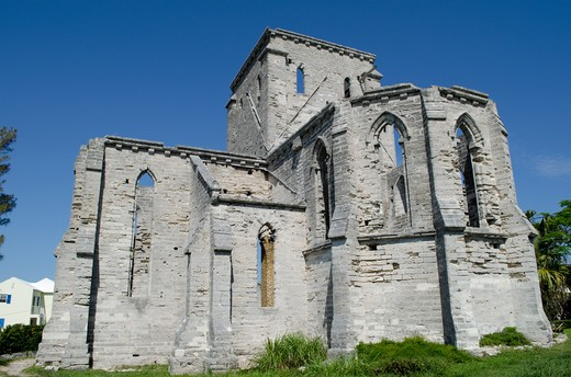 Bermuda, St.George, unfinished church ruins : Stock Photo