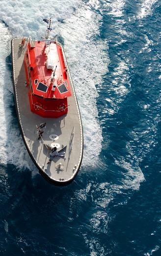 Stock Photo: 3138-537106 Bermuda, motor boat, view from above