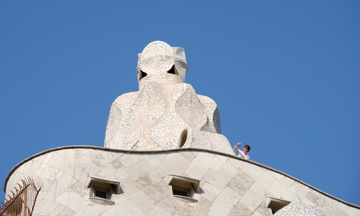 Spain, Barcelona, Antoni Gaudi's Casa Mila : Stock Photo