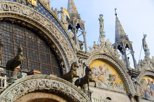 Stock Photo: 3138-537157 Low angle view of a cathedral, St. Mark's Cathedral, Venice, Veneto, Italy