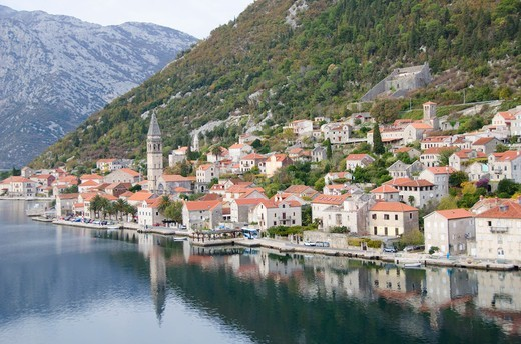 Town on hillside, Perast, Kotor Bay, Montenegro : Stock Photo