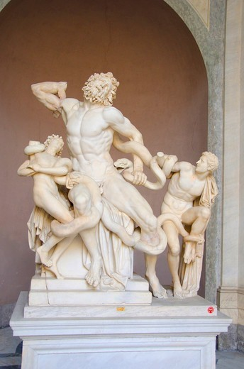 Stock Photo: 3138-537341 Laocoon and his sons sculpture in a museum, Vatican Museums, Vatican City