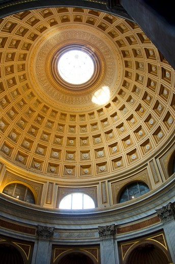 Stock Photo: 3138-537345 Coffered ceiling of the Sala Rotonda, Vatican Museums, Vatican City