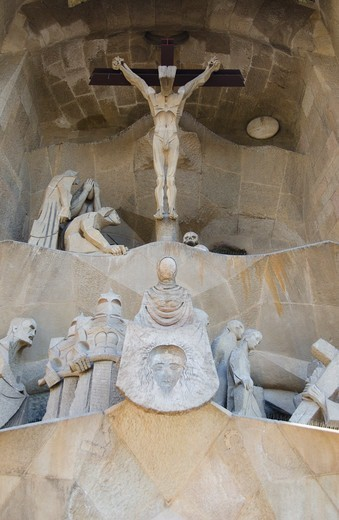 Stock Photo: 3138-537387 Detail of a church, Sagrada Familia, Barcelona, Catalonia, Spain