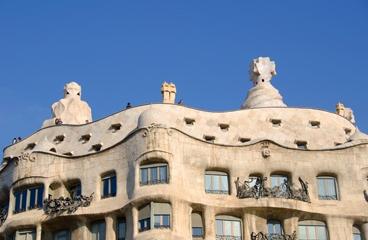 Low angle view of a building, Casa Mila, Barcelona, Catalonia, Spain : Stock Photo