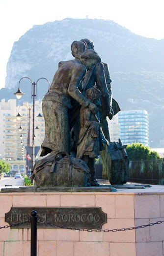 Stock Photo: 3138-537397 French Morocco statues, Gibraltar, Spain