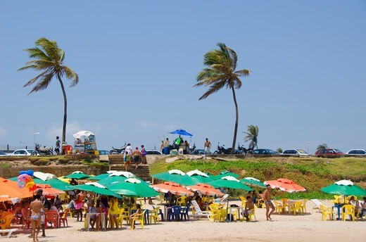 Stock Photo: 3138-537407 Tourists on the beach, Jaguaribe, Salvador, Bahia, Brazil