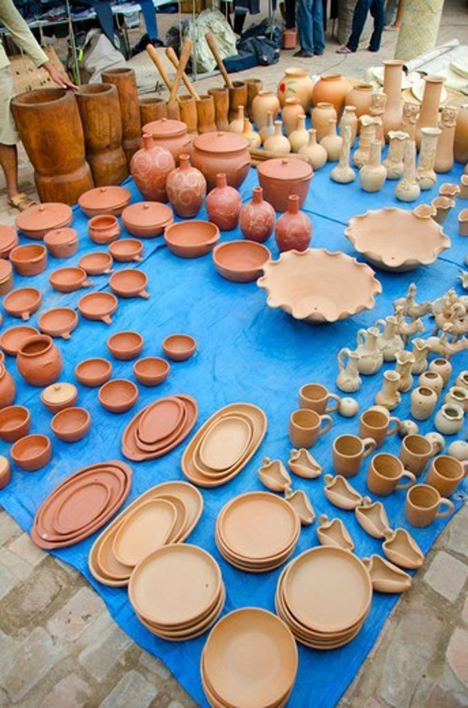 Stock Photo: 3138-537418 Ceramics pottery for sale at a market, Vale Do Capao, Bahia, Brazil