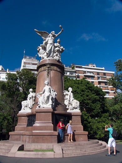 Stock Photo: 3138-717 Tourist taking pictures at a monument, Plaza Francia, Buenos Aires, Argentina