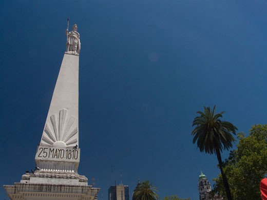 Stock Photo: 3138-803A Low angle view of a monument, Piramide de Mayo, Plaza de Mayo, Buenos Aires, Argentina