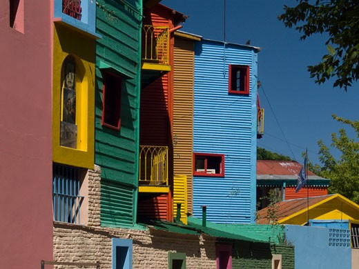 Low angle view of buildings, La Boca, Buenos Aires, Argentina : Stock Photo