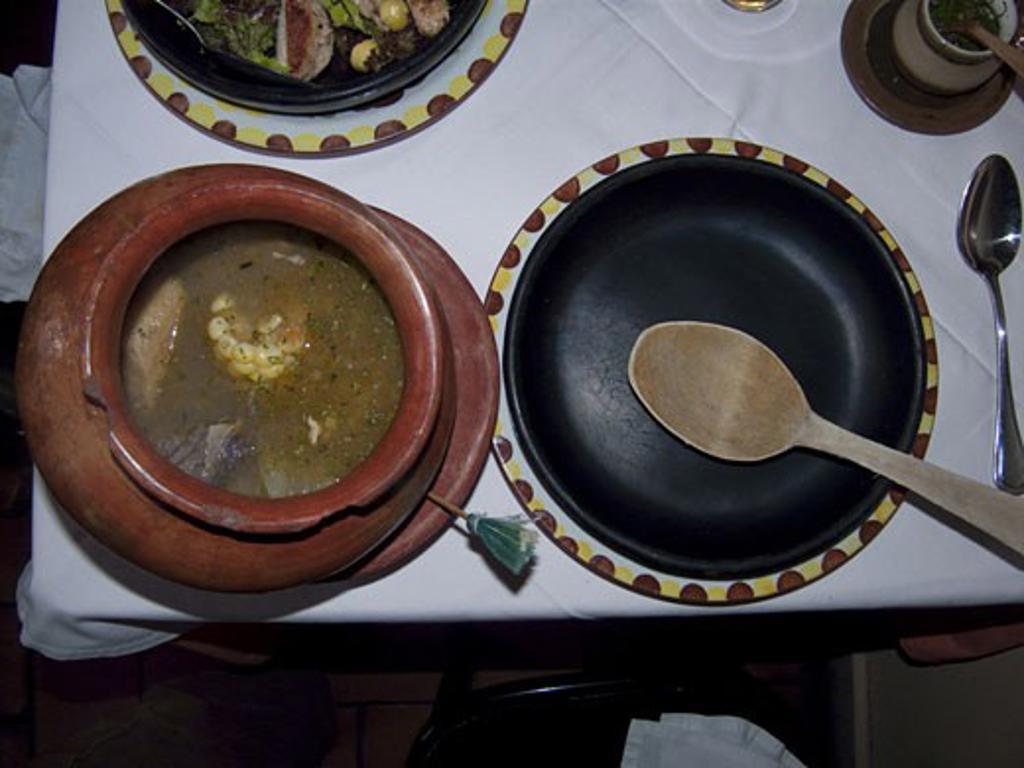 Stock Photo: 3138-822 Sancocho on a table, Casa Vieja, Tequendama, Bogota, Colombia