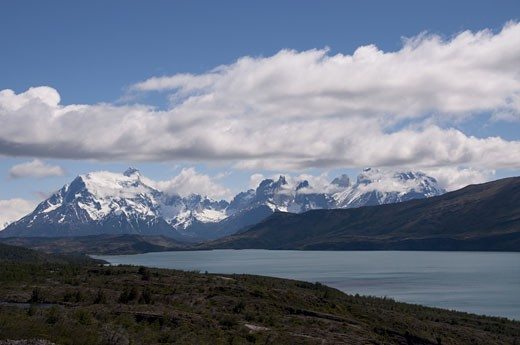 Lake in front of a mountain range, Del Toro Lake, Torres Del Paine National Park, Magallanes and Antartica Chilena Region, Chile : Stock Photo