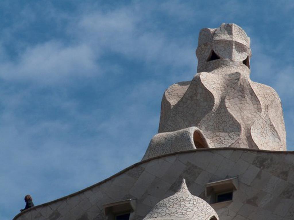 Stock Photo: 3138-878 Chimney of a building, La Pedrera, Barcelona, Catalonia, Spain