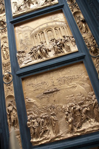 Stock Photo: 3138-968A Decorated Door, Baptistery of San Giovanni, Florence, Italy