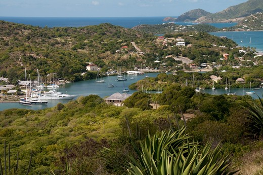 Stock Photo: 3138-982 Sailboats at a harbor, English Harbor, Antigua, Antigua And Barbuda